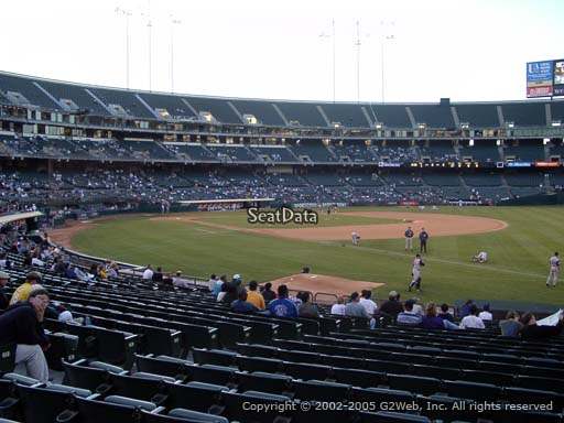 Seat view from section 106 at Oakland Coliseum, home of the Oakland Athletics