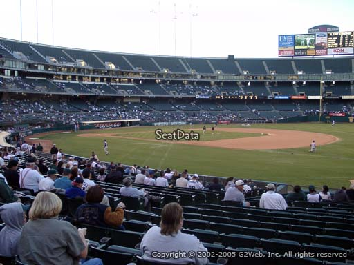 Seat view from section 108 at Oakland Coliseum, home of the Oakland Athletics