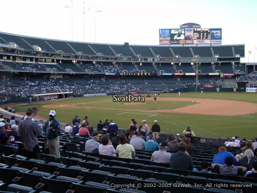 Seat view from section 110 at Oakland Coliseum, home of the Oakland Athletics