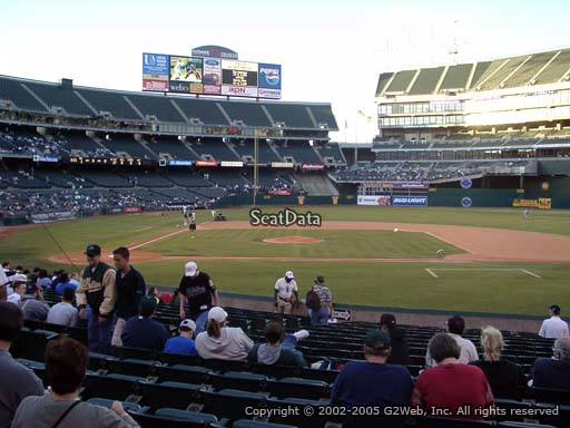 Seat view from section 113 at Oakland Coliseum, home of the Oakland Athletics