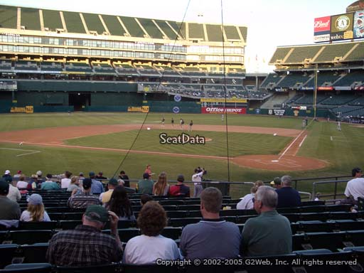 Seat view from section 119 at Oakland Coliseum, home of the Oakland Athletics