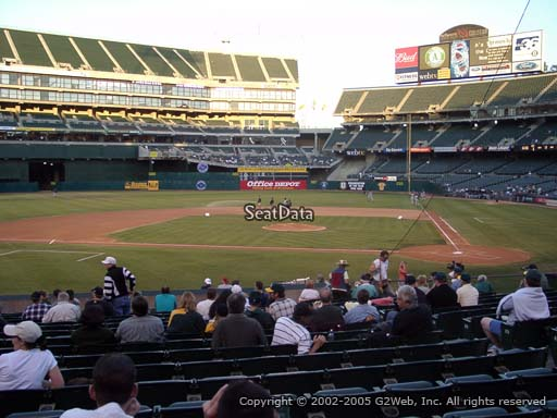 Seat view from section 120 at Oakland Coliseum, home of the Oakland Athletics