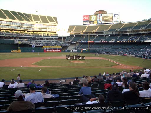 Seat view from section 121 at Oakland Coliseum, home of the Oakland Athletics