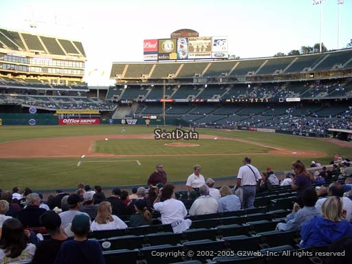 Seat view from section 122 at Oakland Coliseum, home of the Oakland Athletics