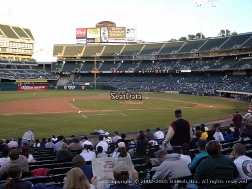 Seat view from section 123 at Oakland Coliseum, home of the Oakland Athletics