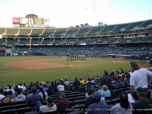Seat view from section 125 at Oakland Coliseum, home of the Oakland Athletics