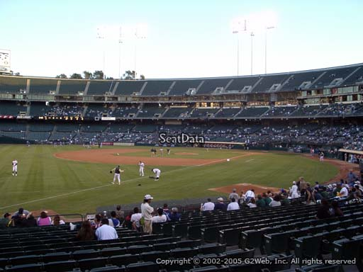 Seat view from section 129 at Oakland Coliseum, home of the Oakland Athletics