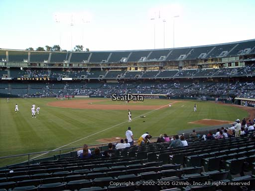 Seat view from section 130 at Oakland Coliseum, home of the Oakland Athletics