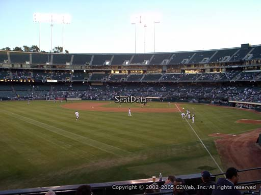 Seat view from section 132 at Oakland Coliseum, home of the Oakland Athletics