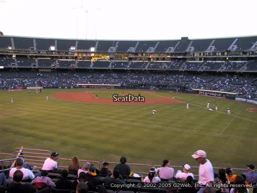 Seat view from section 136 at Oakland Coliseum, home of the Oakland Athletics