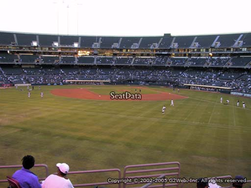 Seat view from section 138 at Oakland Coliseum, home of the Oakland Athletics