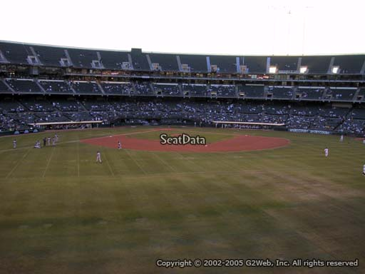 Seat view from section 145 at Oakland Coliseum, home of the Oakland Athletics