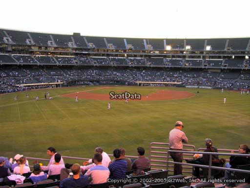 Seat view from section 147 at Oakland Coliseum, home of the Oakland Athletics