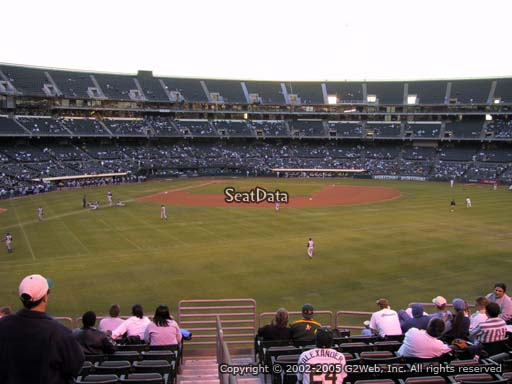 Seat view from section 148 at Oakland Coliseum, home of the Oakland Athletics