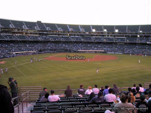 Seat view from section 149 at Oakland Coliseum, home of the Oakland Athletics