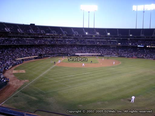 Seat view from section 200 at Oakland Coliseum, home of the Oakland Athletics
