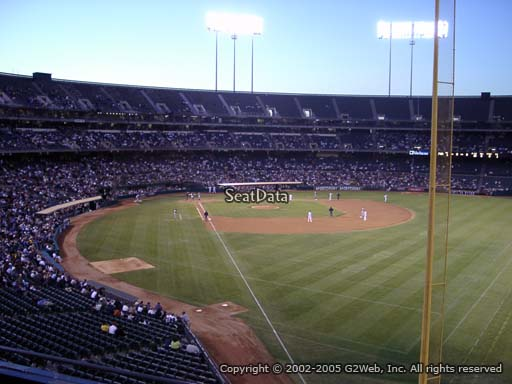 Seat view from section 203 at Oakland Coliseum, home of the Oakland Athletics
