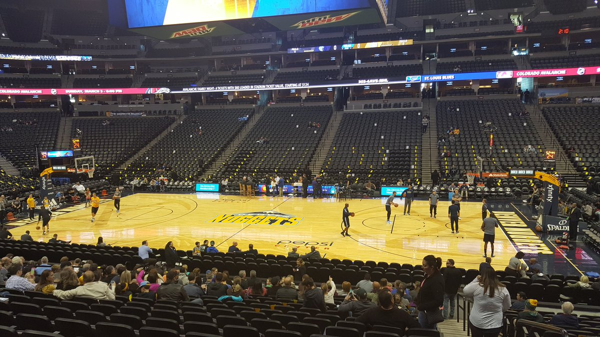 View of the court from the Loge Level at the Pepsi Center during a Denver Nuggets home game