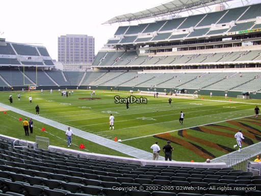 Seat view from section 101 at Paul Brown Stadium, home of the Cincinnati Bengals