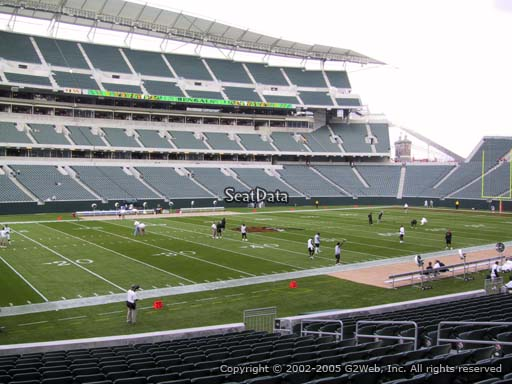 Seat view from section 114 at Paul Brown Stadium, home of the Cincinnati Bengals