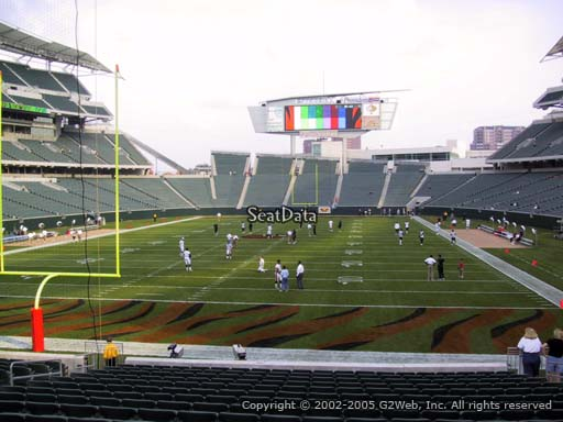 Seat view from section 124 at Paul Brown Stadium, home of the Cincinnati Bengals