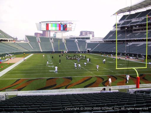 Seat view from section 128 at Paul Brown Stadium, home of the Cincinnati Bengals
