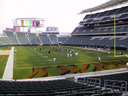 Seat view from section 129 at Paul Brown Stadium, home of the Cincinnati Bengals