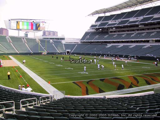Seat view from section 130 at Paul Brown Stadium, home of the Cincinnati Bengals