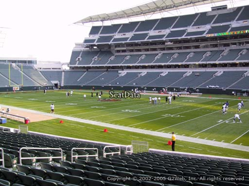 Seat view from section 134 at Paul Brown Stadium, home of the Cincinnati Bengals