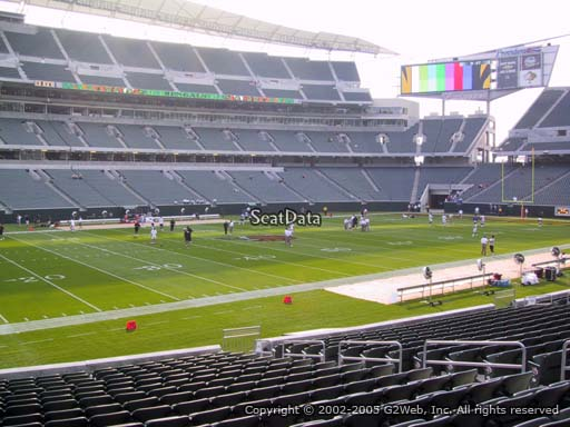 Seat view from section 144 at Paul Brown Stadium, home of the Cincinnati Bengals