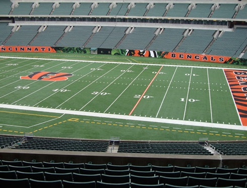 Seat view from section 206 at Paul Brown Stadium, home of the Cincinnati Bengals
