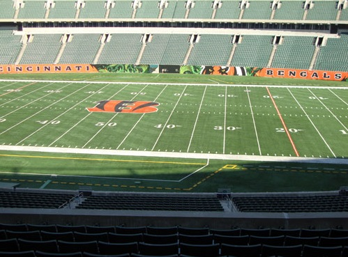 Seat view from section 208 at Paul Brown Stadium, home of the Cincinnati Bengals