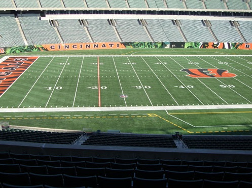 Seat view from section 213 at Paul Brown Stadium, home of the Cincinnati Bengals