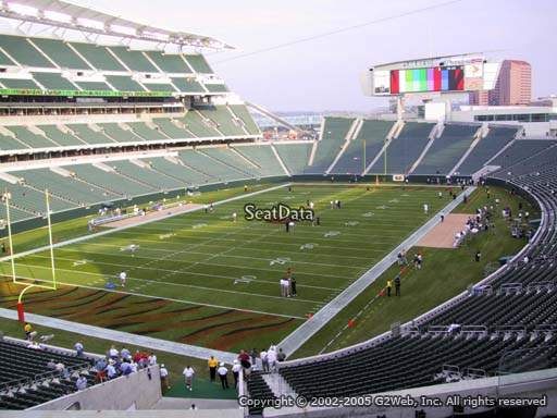 Seat view from section 220 at Paul Brown Stadium, home of the Cincinnati Bengals