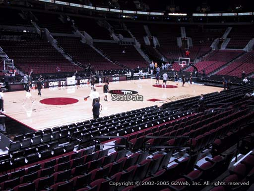 Seat view from section 114 at the Moda Center, home of the Portland Trail Blazers