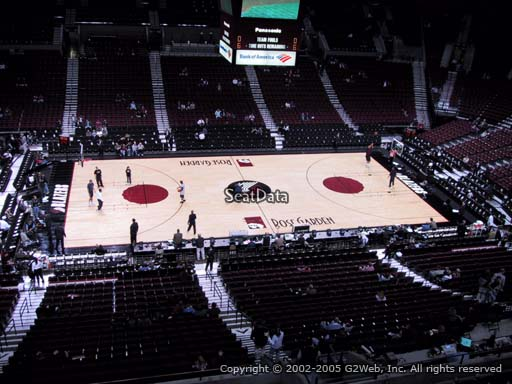 Seat view from section 202 at the Moda Center, home of the Portland Trail Blazers