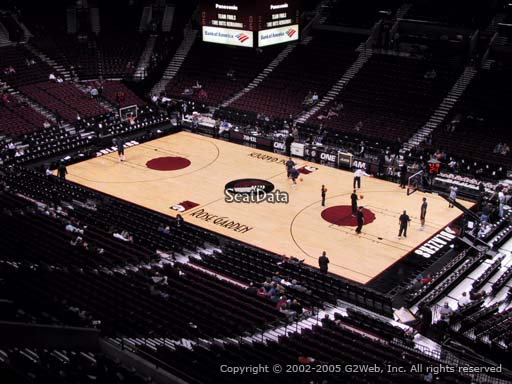 Seat view from section 213 at the Moda Center, home of the Portland Trail Blazers