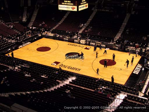 Seat view from section 214 at the Moda Center, home of the Portland Trail Blazers