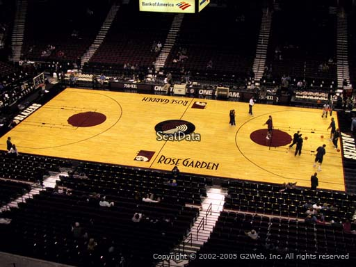 Seat view from section 215 at the Moda Center, home of the Portland Trail Blazers