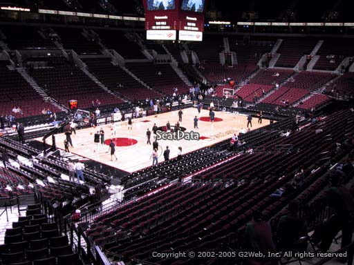 Seat view from section 220 at the Moda Center, home of the Portland Trail Blazers