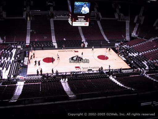 Seat view from section 302 at the Moda Center, home of the Portland Trail Blazers