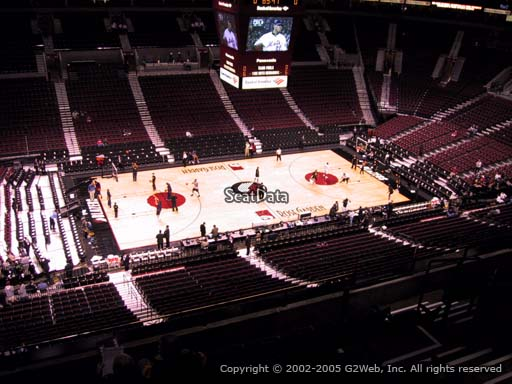 Seat view from section 303 at the Moda Center, home of the Portland Trail Blazers