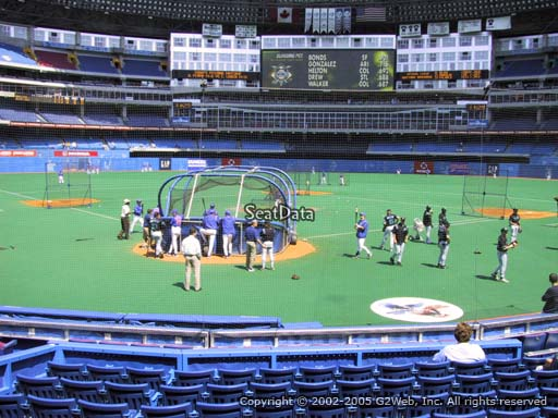 Seat view from section 121 at the Rogers Centre, home of the Toronto Blue Jays.