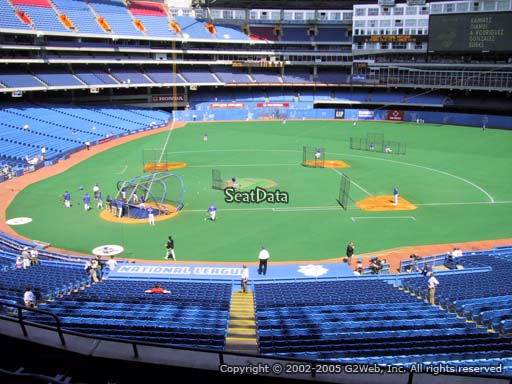 Seat view from section 221 at the Rogers Centre, home of the Toronto Blue Jays.