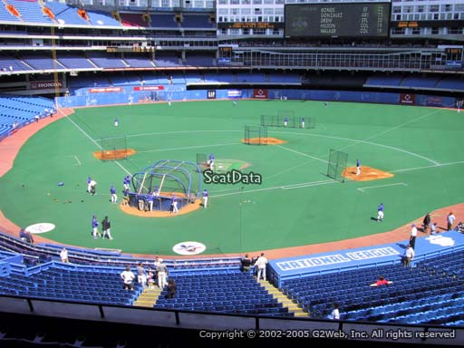 Seat view from section 223 at the Rogers Centre, home of the Toronto Blue Jays.