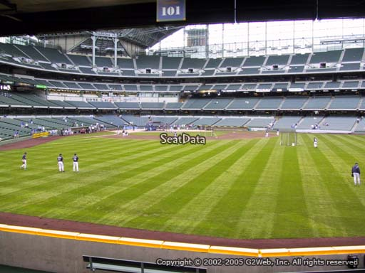 Seat view from bleacher section 101 at Miller Park, home of the Milwaukee Brewers