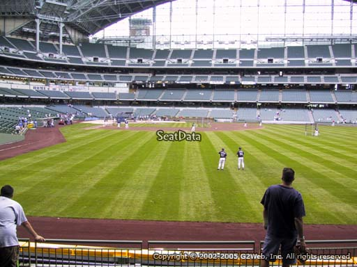 Seat view from bleacher section 103 at Miller Park, home of the Milwaukee Brewers
