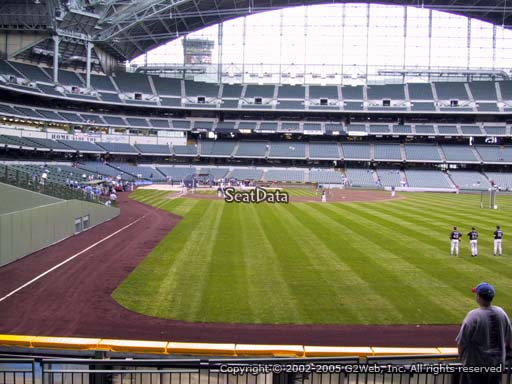 Seat view from bleacher section 104 at Miller Park, home of the Milwaukee Brewers