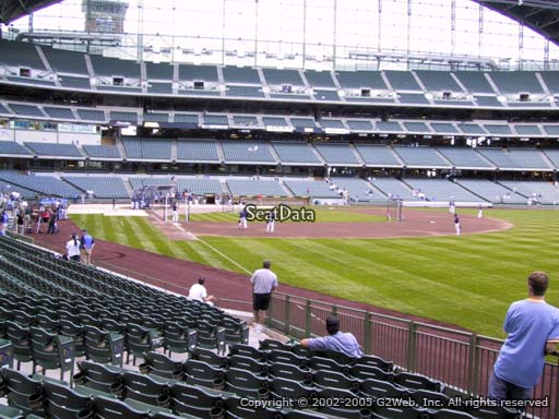 Seat view from section 107 at Miller Park, home of the Milwaukee Brewers