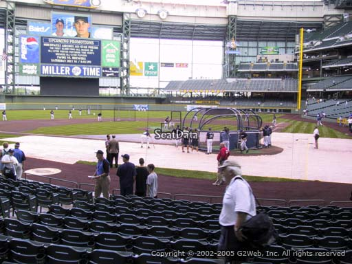 Seat view from section 119 at Miller Park, home of the Milwaukee Brewers